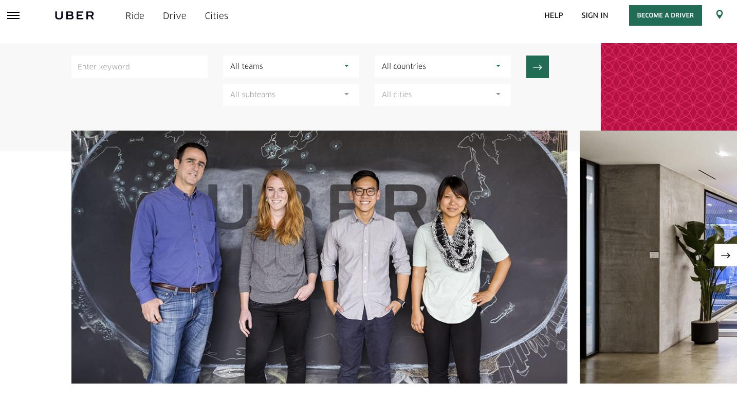 uber careers page design header