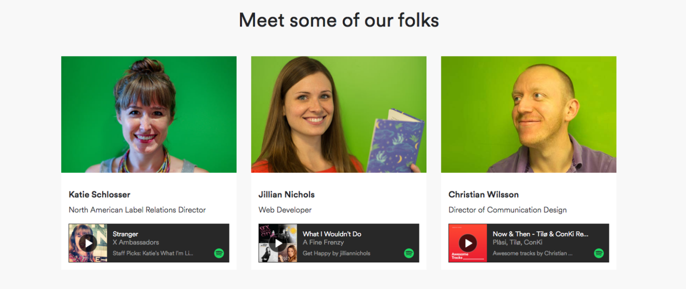 spotify careers page design people section