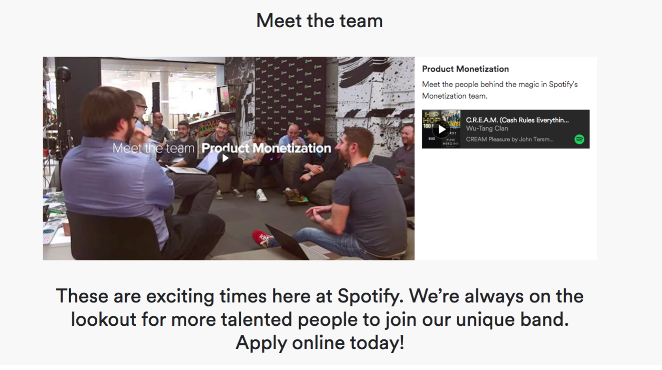 spotify careers page design meet team section