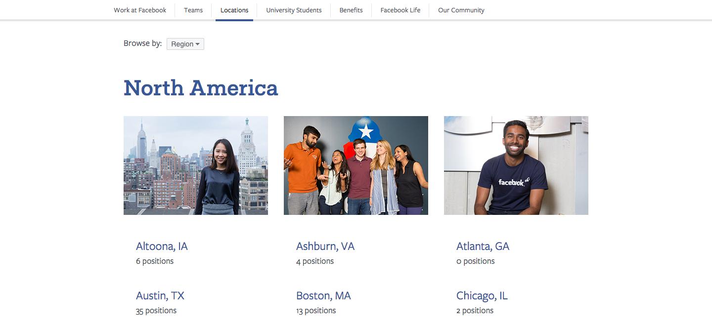 Facebook openings careers page design
