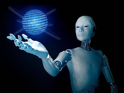 robot holding binary globe