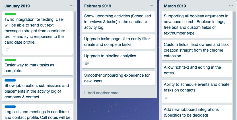 recruiter flow product roadmap